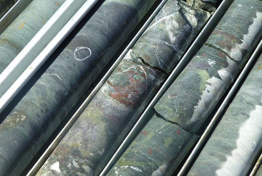 Copper mineralisation in core