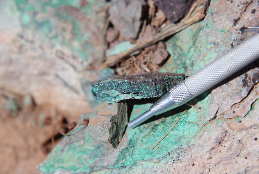 Malachite sample from artisanal working