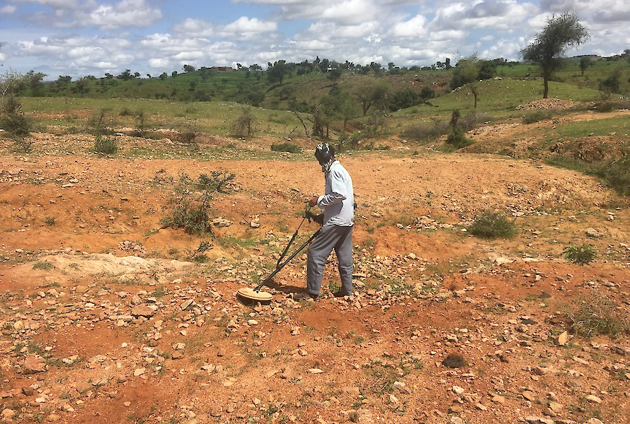 Local miner using a metal detector