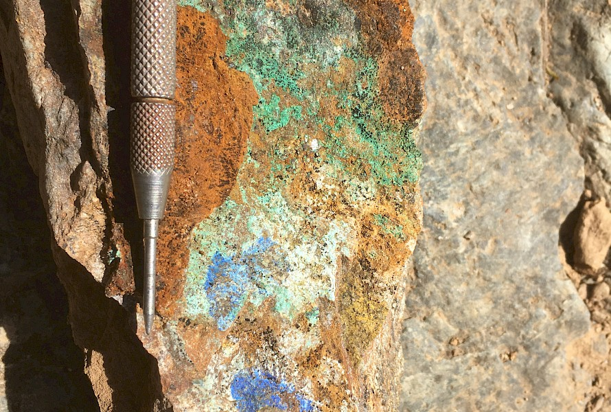 Malachite and azurite in gossan