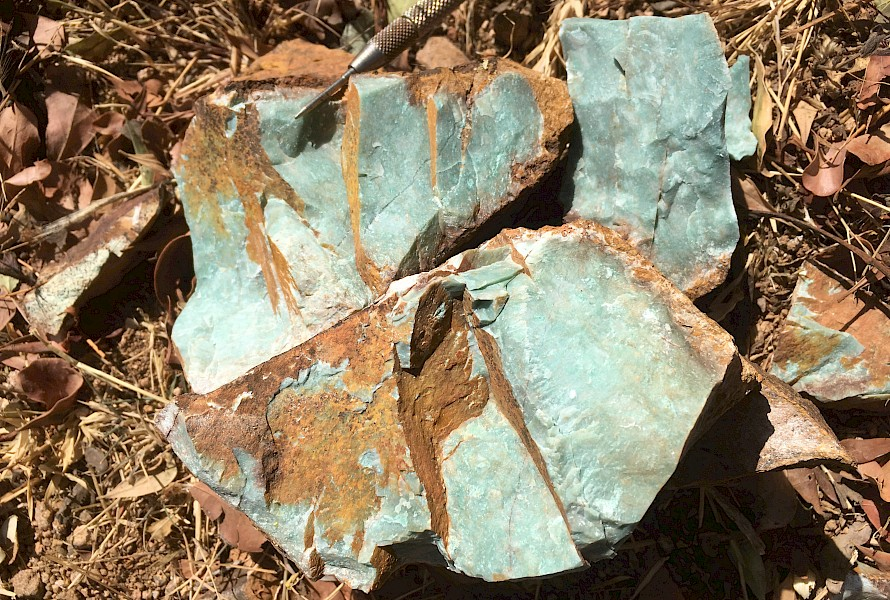 Silified rock-chips with fuchsite