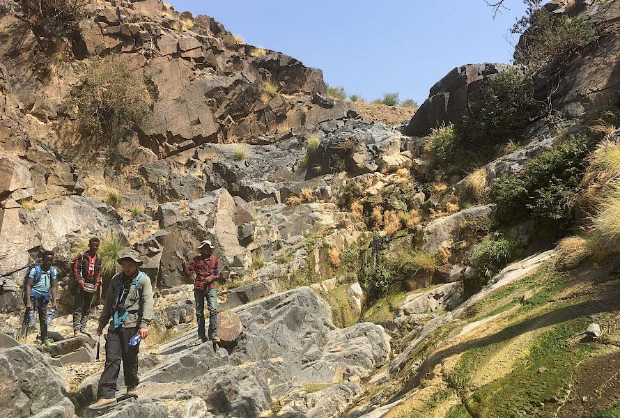 Hiking during the stream sediment survey