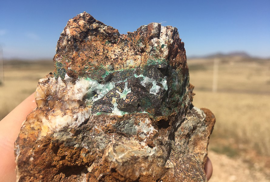 Quartz-hosted copper sulphides