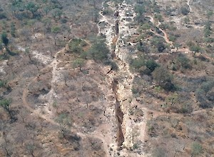 Aerial view of artisanal trenching